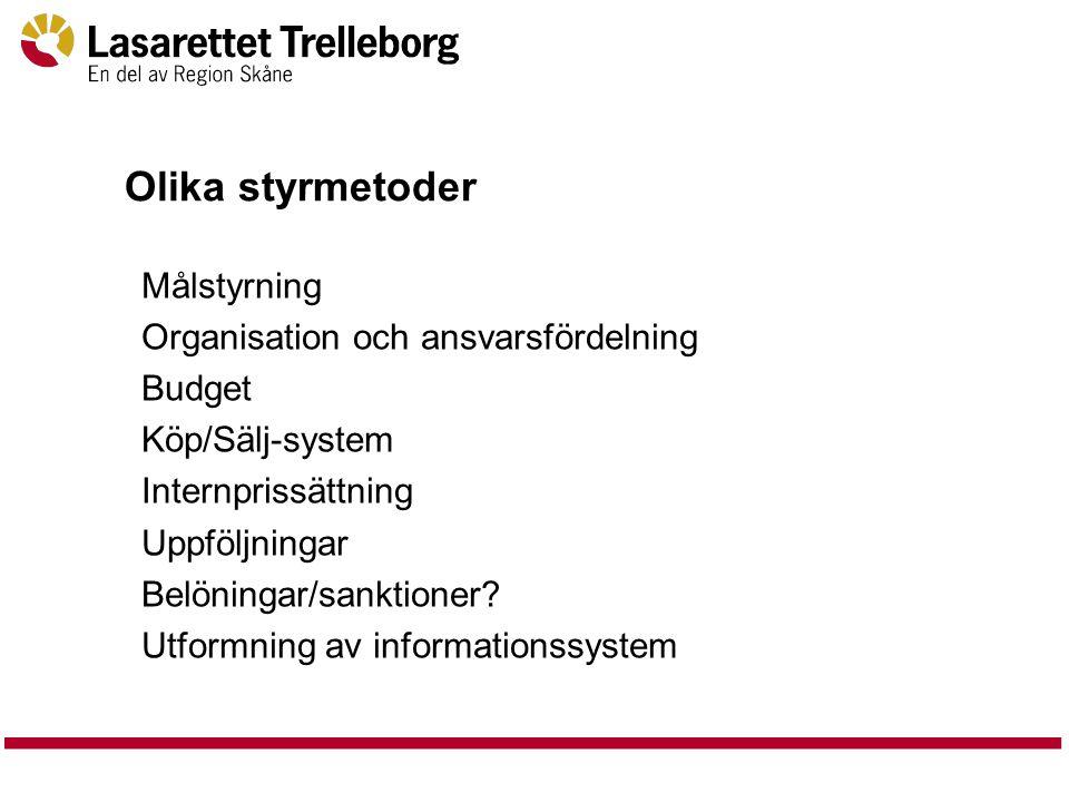 Olika styrmetoder Målstyrning Organisation och ansvarsfördelning Budget Köp/Sälj-system Internprissättning Uppföljningar Belöningar/sanktioner.