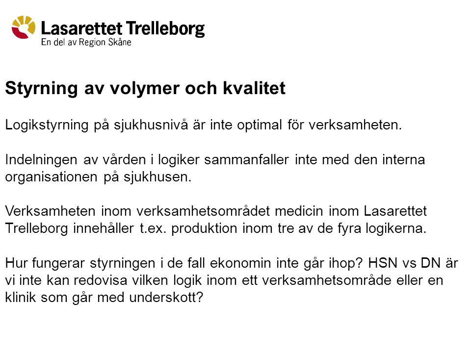 Styrning av volymer och kvalitet Logikstyrning på sjukhusnivå är inte optimal för verksamheten.
