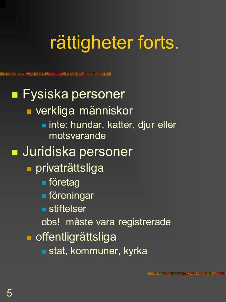 4 Rättigheter & Skyldigheter  rättigheter  äganderätt  giftorätt  hyresrätt  fordringsrätt  skyldigheter (förpliktelser)  försörjningsplikt  s