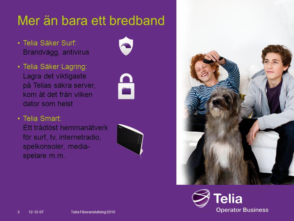 12-12-073Telia Fiberanslutning 2010 Mer än bara ett bredband •Telia Säker Surf: Brandvägg, antivirus •Telia Säker Lagring: Lagra det viktigaste på Tel