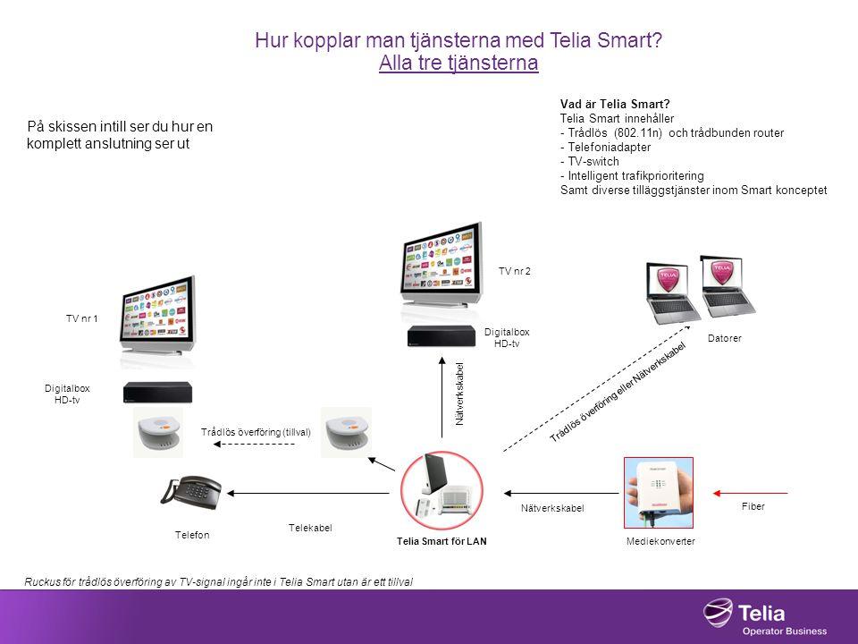 Hur kopplar man tjänsterna med Telia Smart? Alla tre tjänsterna På skissen intill ser du hur en komplett anslutning ser ut Vad är Telia Smart? Telia S
