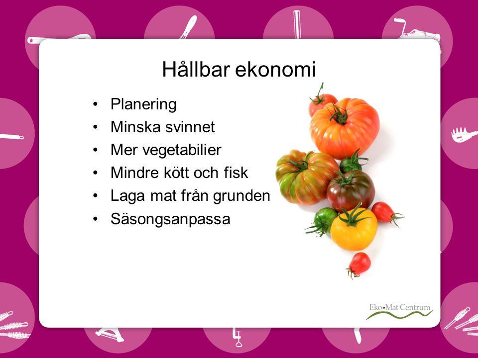 Hållbar ekonomi •Planering •Minska svinnet •Mer vegetabilier •Mindre kött och fisk •Laga mat från grunden •Säsongsanpassa