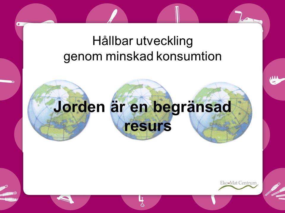 Hållbar utveckling genom minskad konsumtion Jorden är en begränsad resurs
