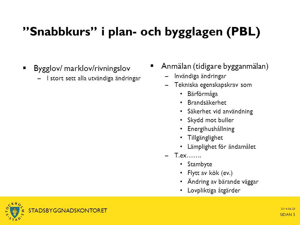 """2014-06-28 SIDAN 5 STADSBYGGNADSKONTORET """"Snabbkurs"""" i plan- och bygglagen (PBL)  Bygglov/ marklov/rivningslov –I stort sett alla utvändiga ändringar"""
