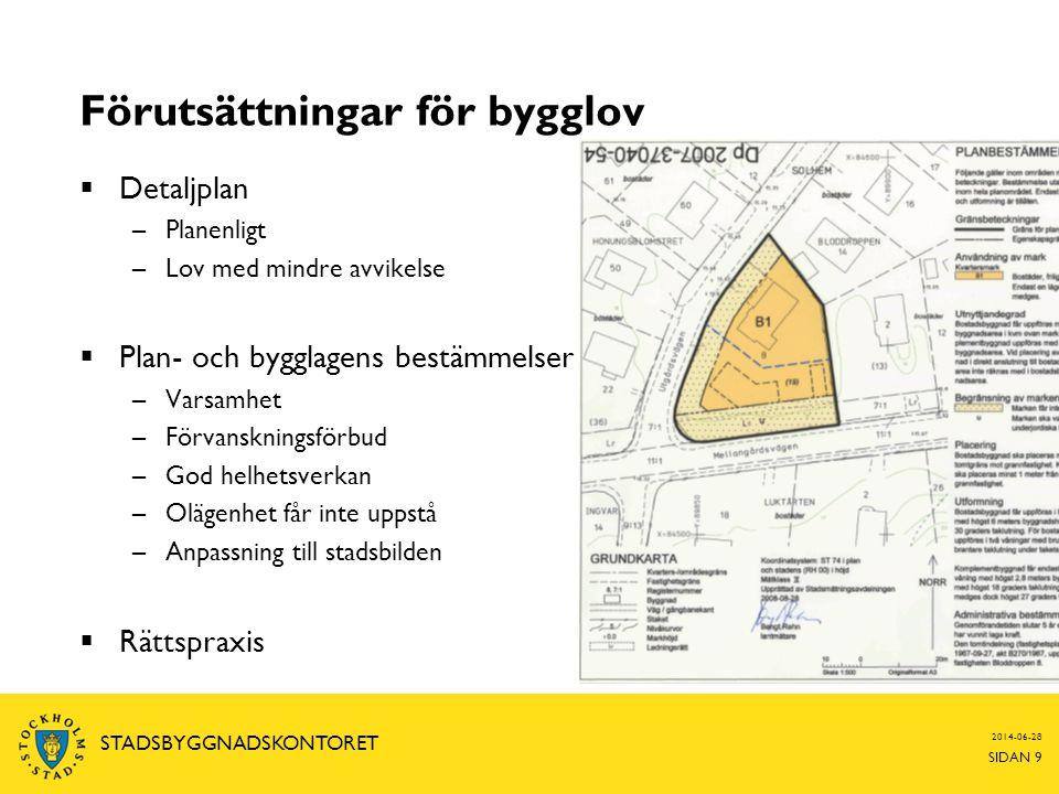 2014-06-28 SIDAN 9 STADSBYGGNADSKONTORET Förutsättningar för bygglov  Detaljplan –Planenligt –Lov med mindre avvikelse  Plan- och bygglagens bestämm