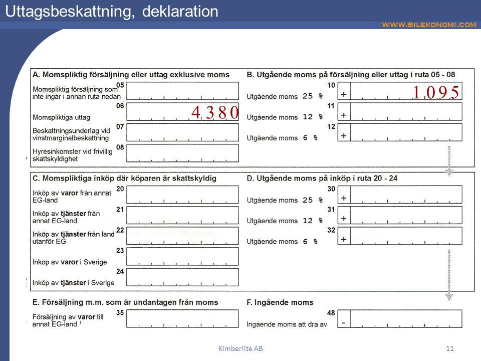www.bilekonomi.com Kimberlite AB11 Uttagsbeskattning, deklaration 1095 4380