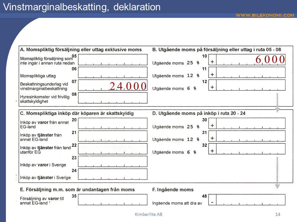 www.bilekonomi.com Kimberlite AB14 Vinstmarginalbeskatting, deklaration 24000 6000