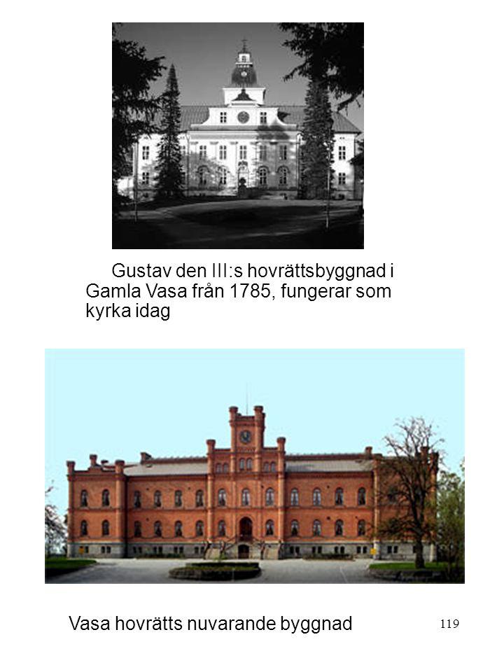 119 Gustav den III:s hovrättsbyggnad i Gamla Vasa från 1785, fungerar som kyrka idag Vasa hovrätts nuvarande byggnad