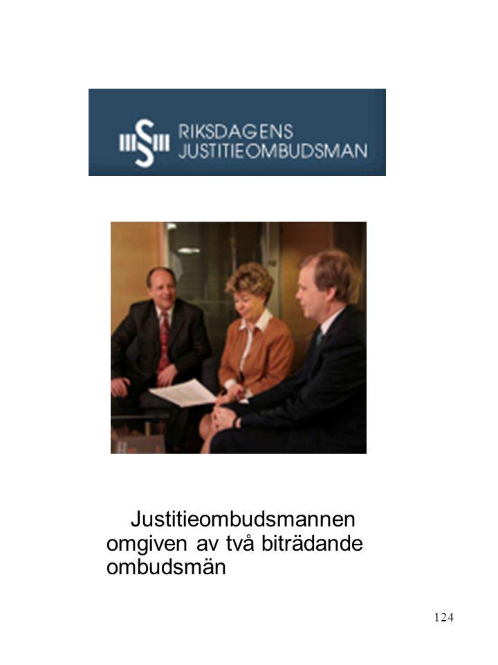 124 Justitieombudsmannen omgiven av två biträdande ombudsmän