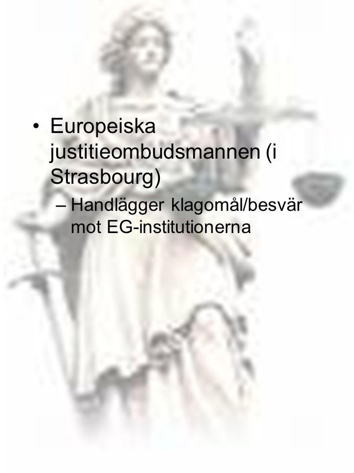 18 •Europeiska justitieombudsmannen (i Strasbourg) –Handlägger klagomål/besvär mot EG-institutionerna