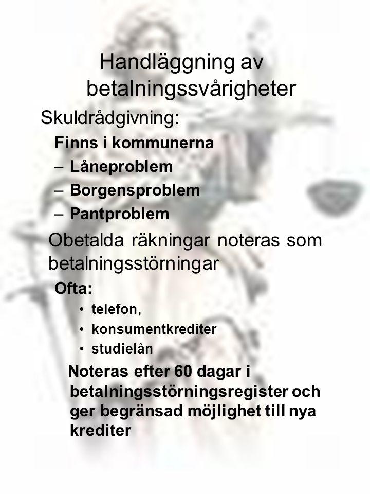 97 Handläggning av betalningssvårigheter Skuldrådgivning: Finns i kommunerna –Låneproblem –Borgensproblem –Pantproblem Obetalda räkningar noteras som