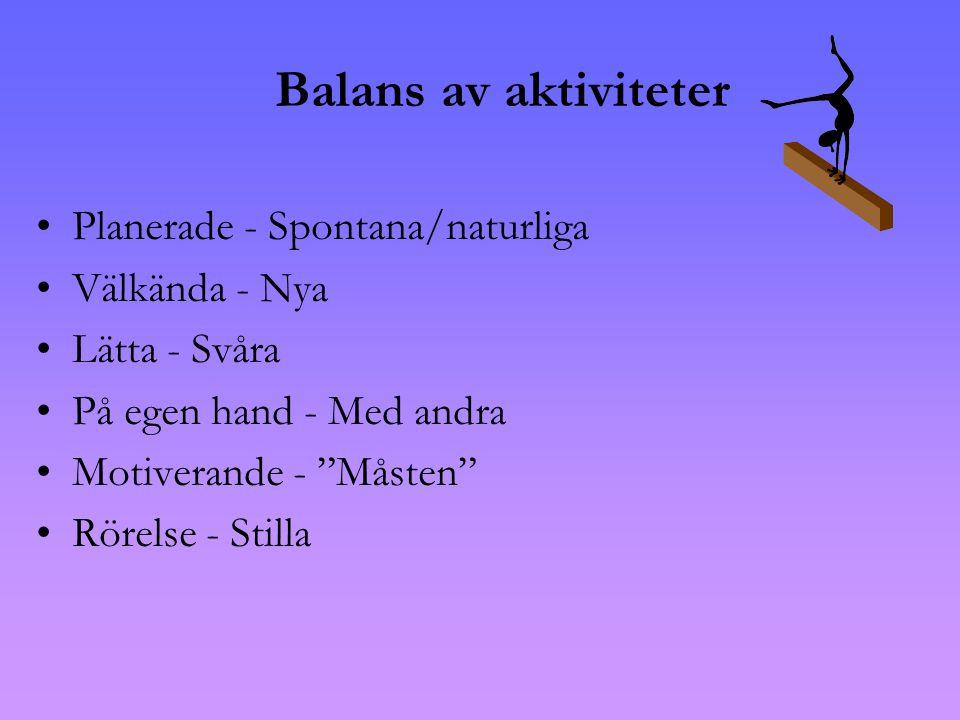 Balans av aktiviteter •Planerade - Spontana/naturliga •Välkända - Nya •Lätta - Svåra •På egen hand - Med andra •Motiverande - Måsten •Rörelse - Stilla