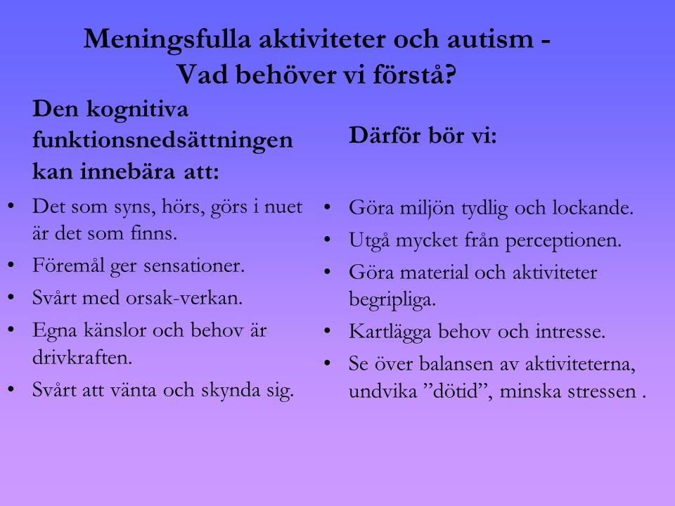 Meningsfulla aktiviteter och autism - Vad behöver vi förstå.