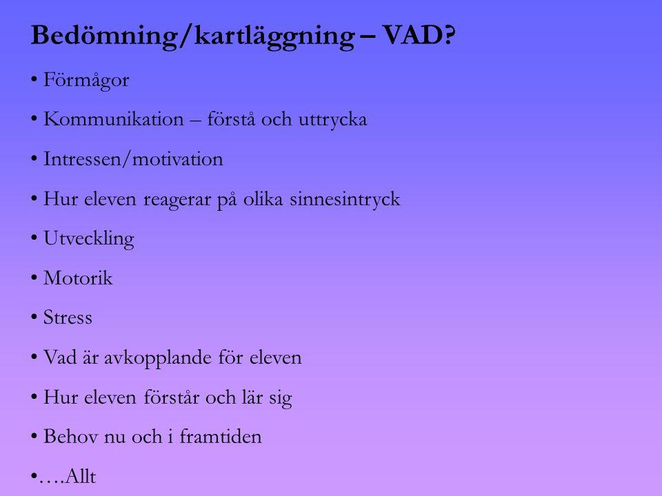 Bedömning/kartläggning – VAD.