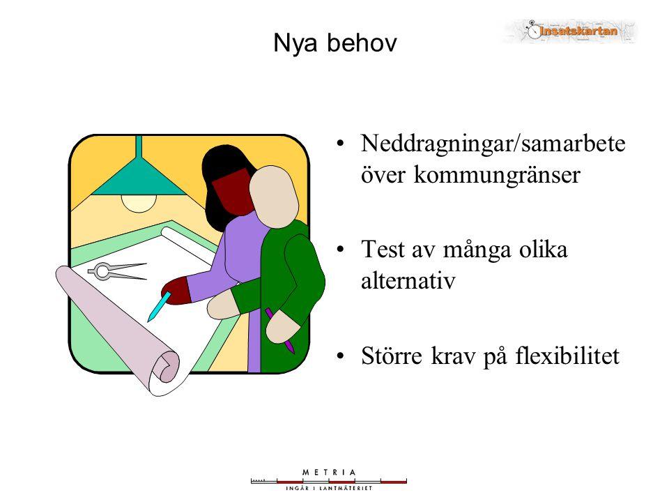 •Neddragningar/samarbete över kommungränser •Test av många olika alternativ •Större krav på flexibilitet Nya behov