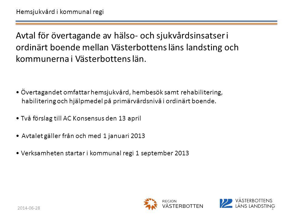 Hemsjukvård i kommunal regi 2014-06-281 Avtal för övertagande av hälso- och sjukvårdsinsatser i ordinärt boende mellan Västerbottens läns landsting oc