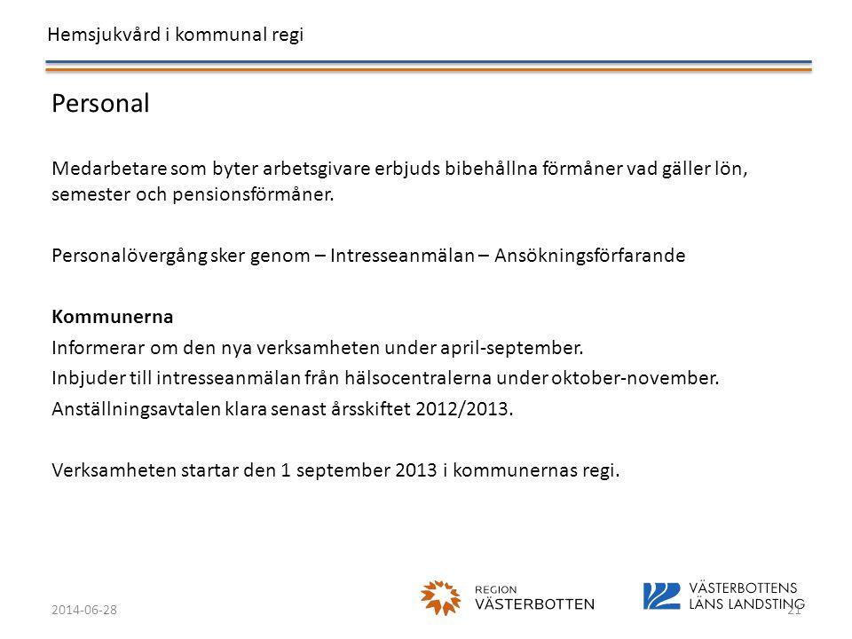 Hemsjukvård i kommunal regi 2014-06-2821 Personal Medarbetare som byter arbetsgivare erbjuds bibehållna förmåner vad gäller lön, semester och pensions