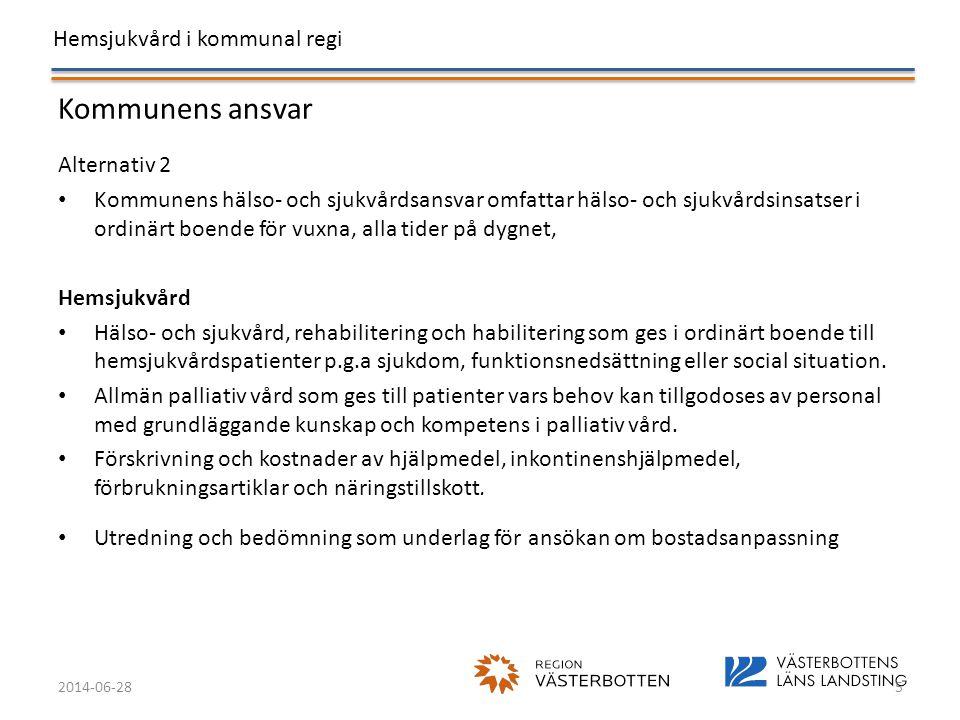Hemsjukvård i kommunal regi 2014-06-285 Kommunens ansvar Alternativ 2 • Kommunens hälso- och sjukvårdsansvar omfattar hälso- och sjukvårdsinsatser i o