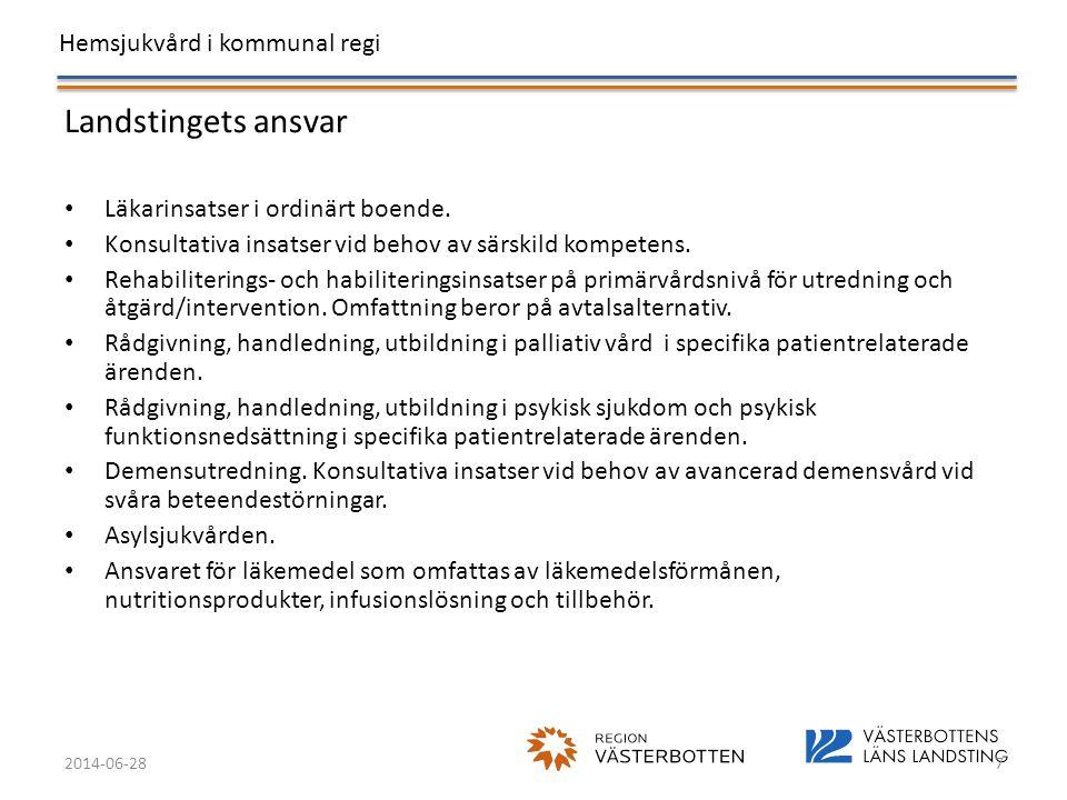 Hemsjukvård i kommunal regi 2014-06-287 Landstingets ansvar • Läkarinsatser i ordinärt boende. • Konsultativa insatser vid behov av särskild kompetens