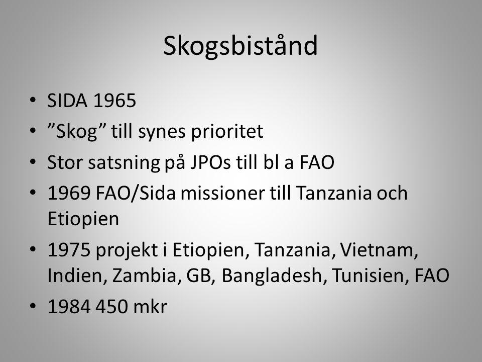 """Skogsbistånd • SIDA 1965 • """"Skog"""" till synes prioritet • Stor satsning på JPOs till bl a FAO • 1969 FAO/Sida missioner till Tanzania och Etiopien • 19"""