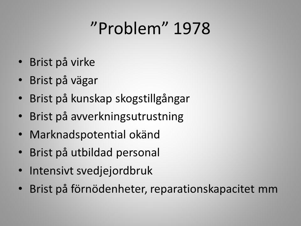 """""""Problem"""" 1978 • Brist på virke • Brist på vägar • Brist på kunskap skogstillgångar • Brist på avverkningsutrustning • Marknadspotential okänd • Brist"""