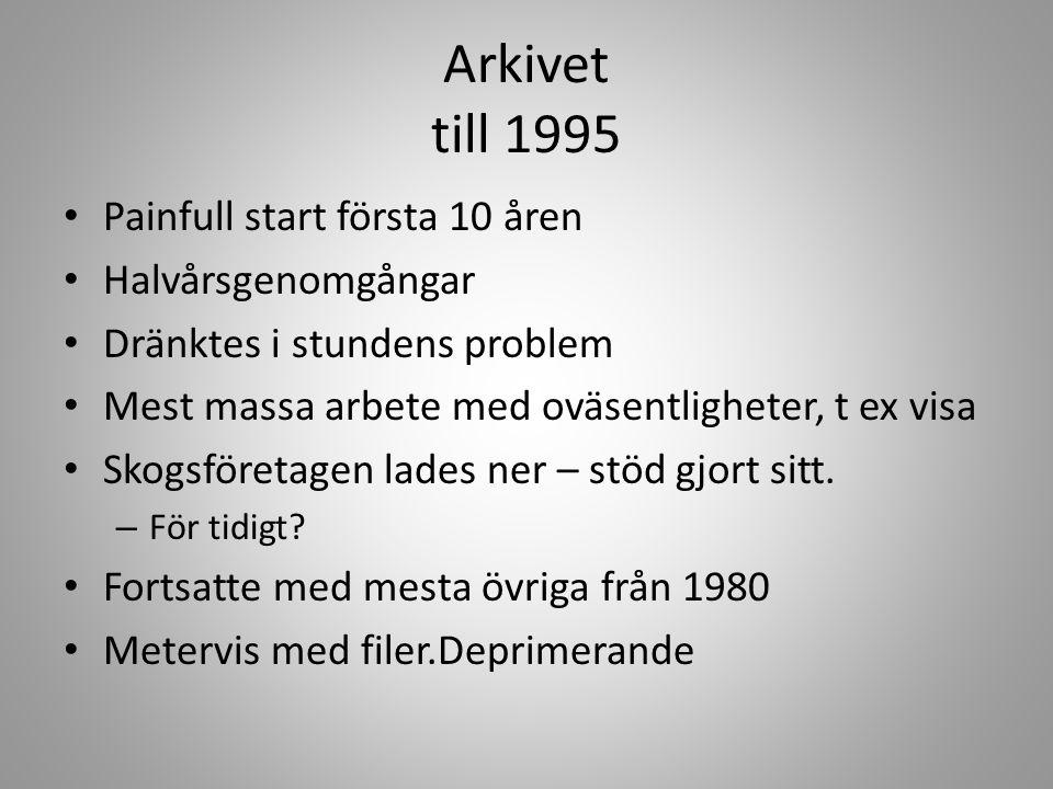 Arkivet till 1995 • Painfull start första 10 åren • Halvårsgenomgångar • Dränktes i stundens problem • Mest massa arbete med oväsentligheter, t ex vis