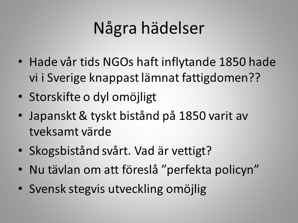 Några hädelser • Hade vår tids NGOs haft inflytande 1850 hade vi i Sverige knappast lämnat fattigdomen?? • Storskifte o dyl omöjligt • Japanskt & tysk