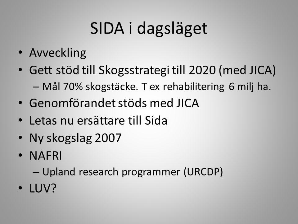 SIDA i dagsläget • Avveckling • Gett stöd till Skogsstrategi till 2020 (med JICA) – Mål 70% skogstäcke. T ex rehabilitering 6 milj ha. • Genomförandet