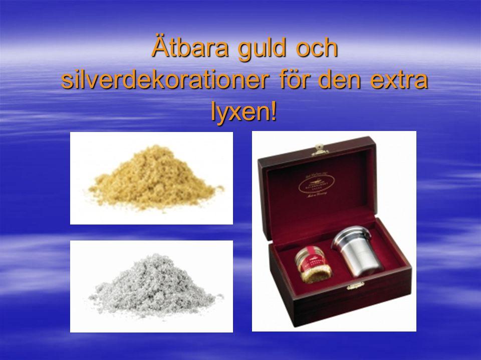 Dessutom väldigt populärt…  Guld, silver- och bronsspray…  Blå, röd- och grön slivsmedelspray…  Glans, cooler, antistick och jellyspray m.m.  Snöv