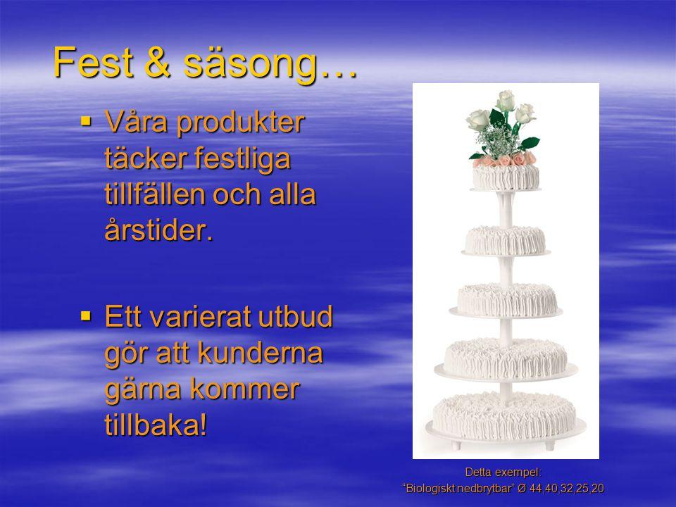 Fest & säsong…  Våra produkter täcker festliga tillfällen och alla årstider.
