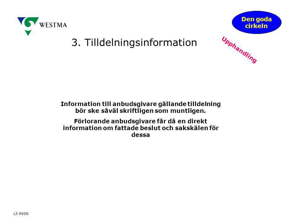 3. Tilldelningsinformation Den goda cirkeln Upphandling Information till anbudsgivare gällande tilldelning bör ske såväl skriftligen som muntligen. Fö