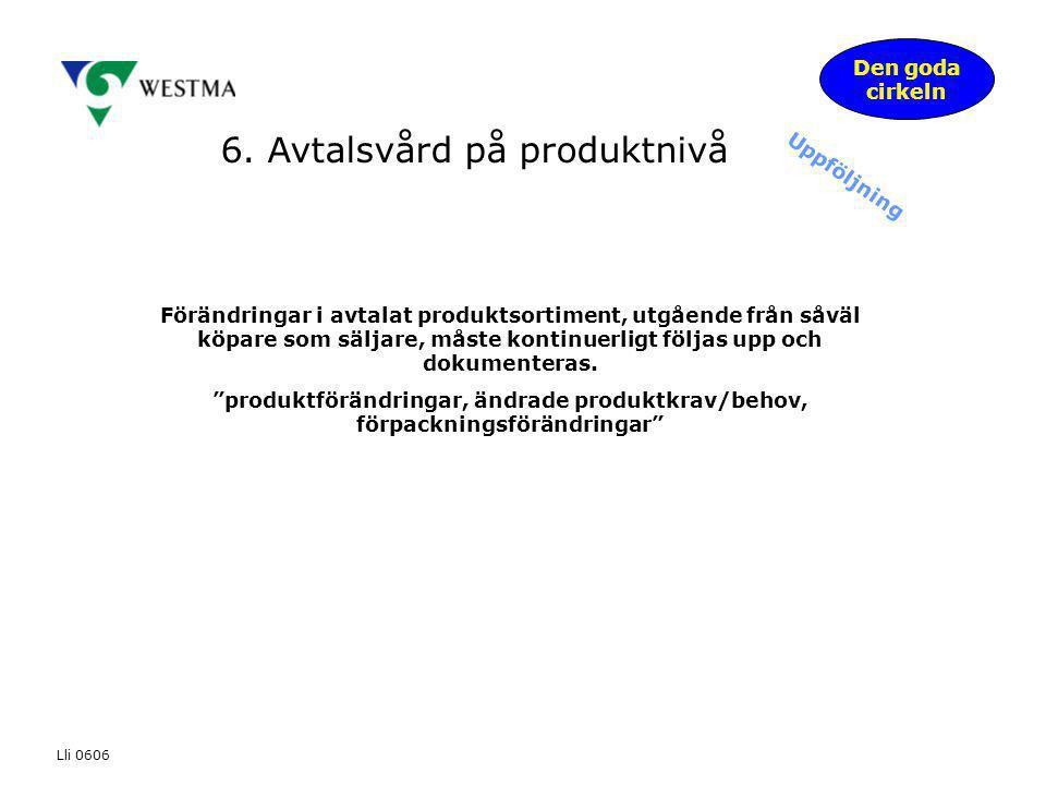 6. Avtalsvård på produktnivå Den goda cirkeln Uppföljning Förändringar i avtalat produktsortiment, utgående från såväl köpare som säljare, måste konti