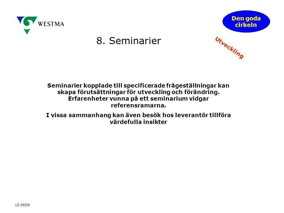 8. Seminarier Den goda cirkeln Utveckling Seminarier kopplade till specificerade frågeställningar kan skapa förutsättningar för utveckling och förändr