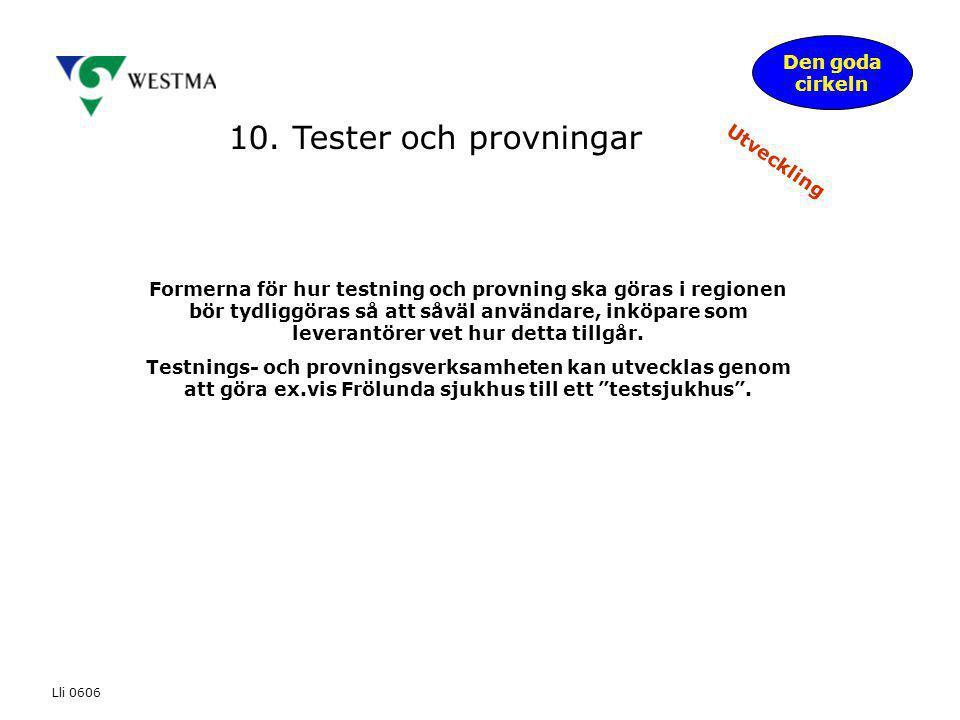 10. Tester och provningar Den goda cirkeln Utveckling Formerna för hur testning och provning ska göras i regionen bör tydliggöras så att såväl använda