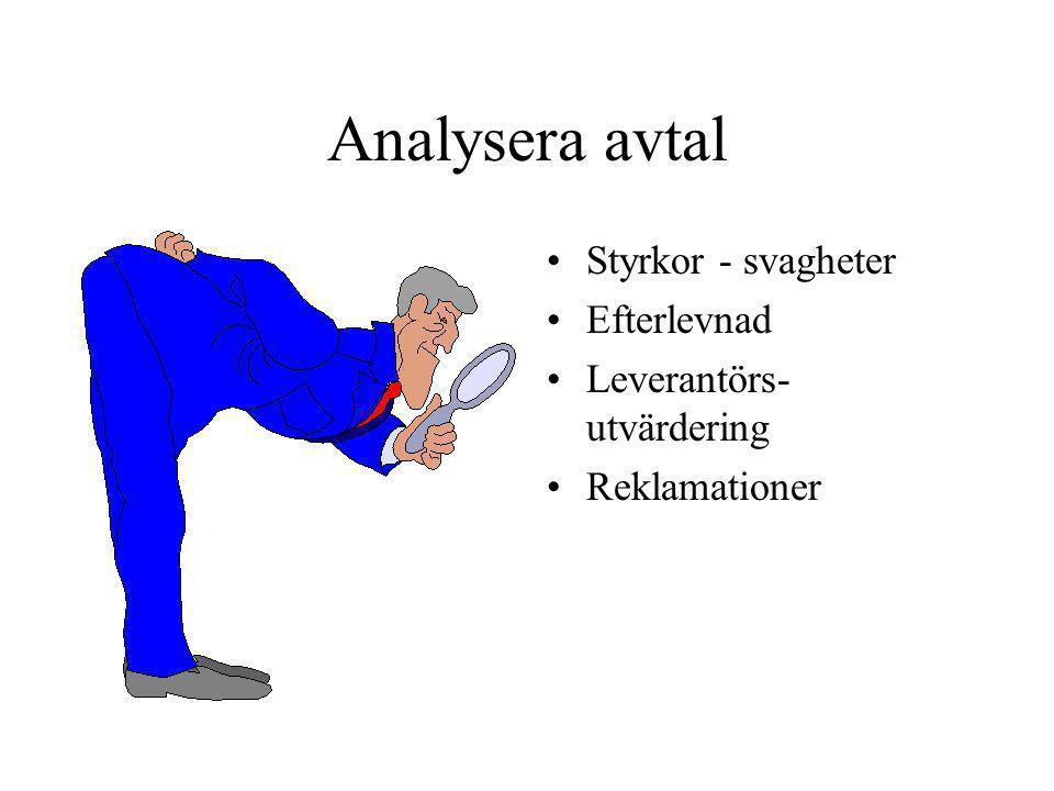 Analysera avtal •Styrkor - svagheter •Efterlevnad •Leverantörs- utvärdering •Reklamationer