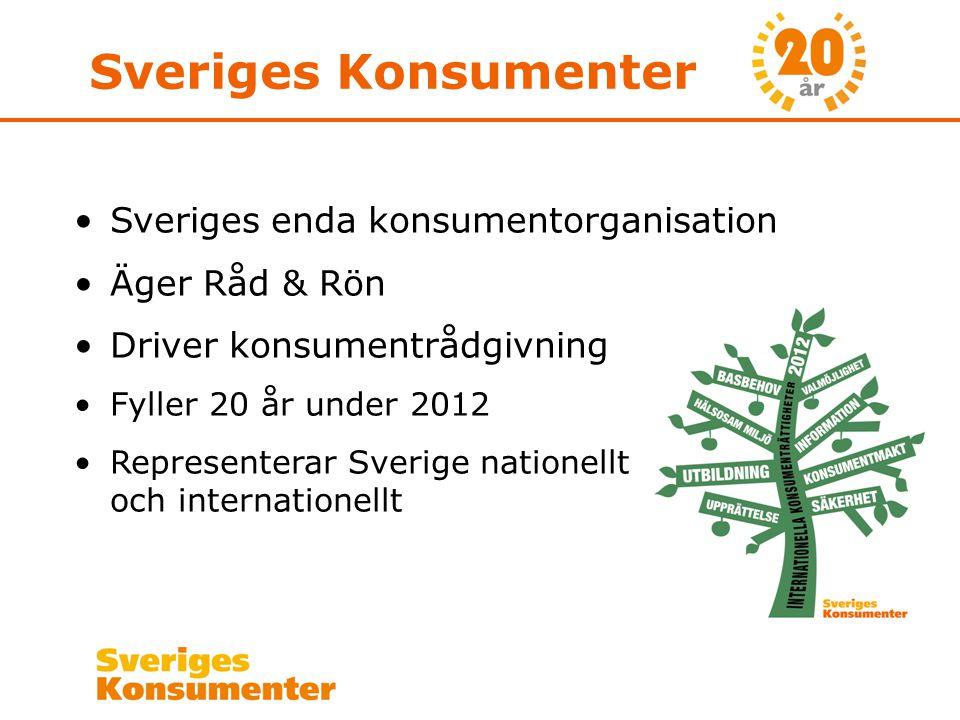 Sveriges Konsumenter •Sveriges enda konsumentorganisation •Äger Råd & Rön •Driver konsumentrådgivning •Fyller 20 år under 2012 •Representerar Sverige nationellt och internationellt