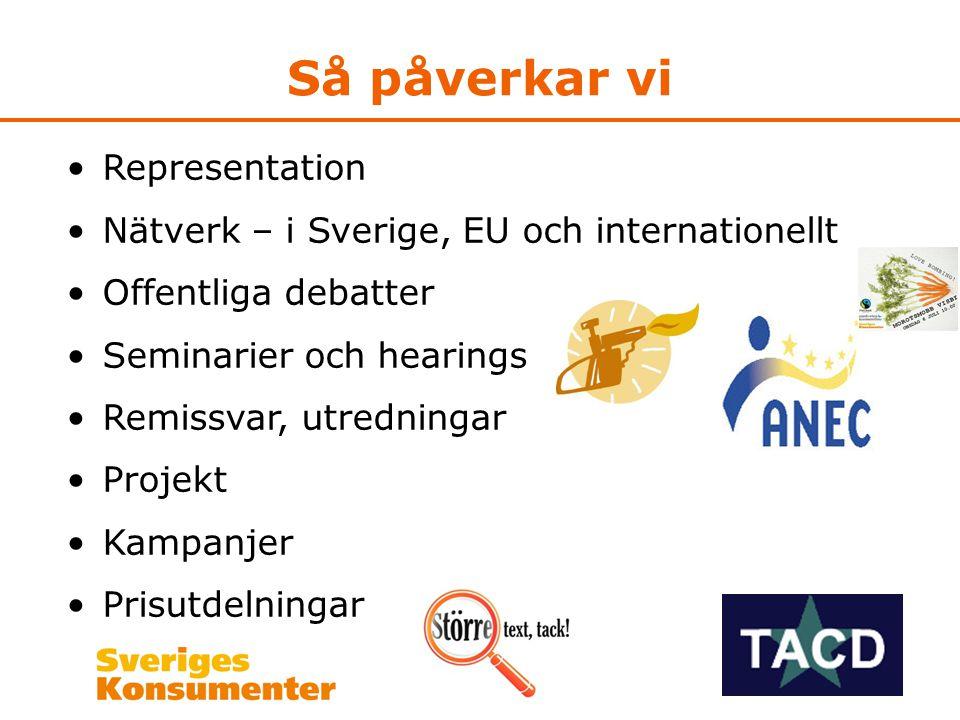 Så påverkar vi •Representation •Nätverk – i Sverige, EU och internationellt •Offentliga debatter •Seminarier och hearings •Remissvar, utredningar •Projekt •Kampanjer •Prisutdelningar