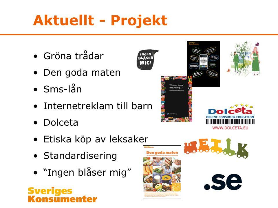 Aktuellt - Projekt •Gröna trådar •Den goda maten •Sms-lån •Internetreklam till barn •Dolceta •Etiska köp av leksaker •Standardisering • Ingen blåser mig