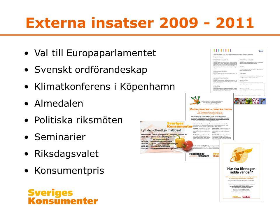 Externa insatser 2009 - 2011 •Val till Europaparlamentet •Svenskt ordförandeskap •Klimatkonferens i Köpenhamn •Almedalen •Politiska riksmöten •Seminar