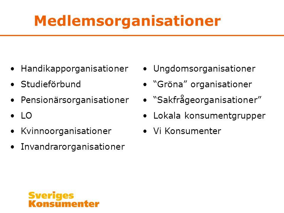 Medlemsorganisationer •Handikapporganisationer •Studieförbund •Pensionärsorganisationer •LO •Kvinnoorganisationer •Invandrarorganisationer •Ungdomsorg