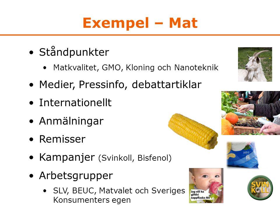 Exempel – Mat •Ståndpunkter •Matkvalitet, GMO, Kloning och Nanoteknik •Medier, Pressinfo, debattartiklar •Internationellt •Anmälningar •Remisser •Kamp