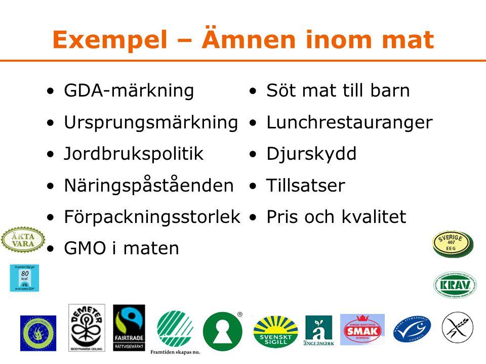 Exempel – Ämnen inom mat •GDA-märkning •Ursprungsmärkning •Jordbrukspolitik •Näringspåståenden •Förpackningsstorlek •GMO i maten •Söt mat till barn •Lunchrestauranger •Djurskydd •Tillsatser •Pris och kvalitet