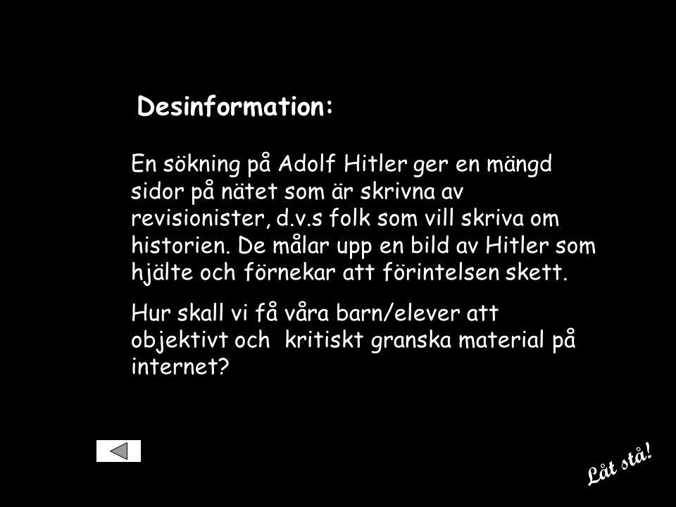 Desinformation: En sökning på Adolf Hitler ger en mängd sidor på nätet som är skrivna av revisionister, d.v.s folk som vill skriva om historien.