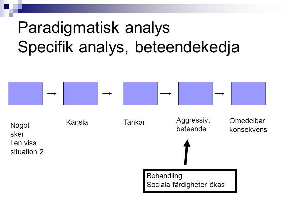 Paradigmatisk analys Specifik analys, beteendekedja Något sker i en viss situation 2 KänslaTankar Aggressivt beteende Omedelbar konsekvens Behandling Sociala färdigheter ökas