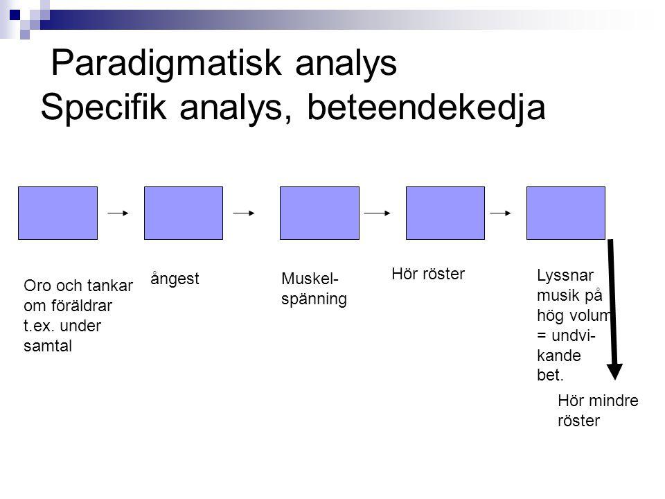 Paradigmatisk analys Specifik analys, beteendekedja Oro och tankar om föräldrar t.ex.
