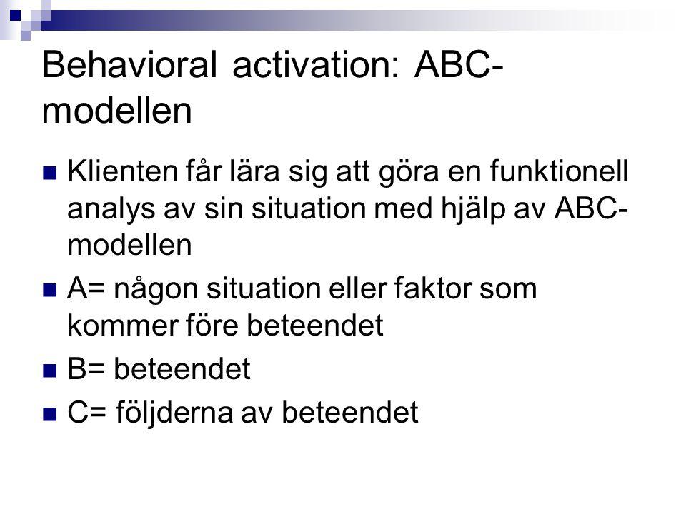 Behavioral activation: ABC- modellen  Klienten får lära sig att göra en funktionell analys av sin situation med hjälp av ABC- modellen  A= någon situation eller faktor som kommer före beteendet  B= beteendet  C= följderna av beteendet