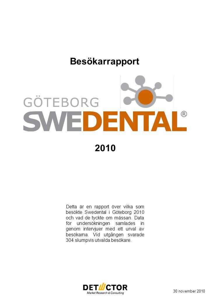 Besökarrapport 30 november 2010 2010 Detta är en rapport över vilka som besökte Swedental i Göteborg 2010 och vad de tyckte om mässan.