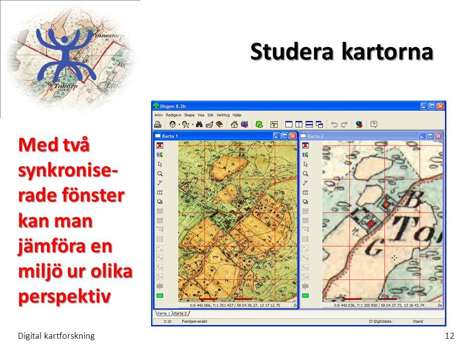 Studera kartorna Digital kartforskning12 Med två synkronise- rade fönster kan man jämföra en miljö ur olika perspektiv