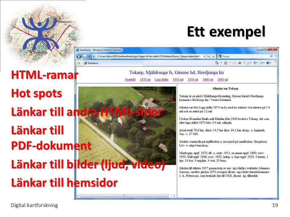 Ett exempel Digital kartforskning19 -- HTML-ramar Hot spots Länkar till andra HTML-sidor Länkar till PDF-dokument Länkar till bilder (ljud, video) Länkar till hemsidor