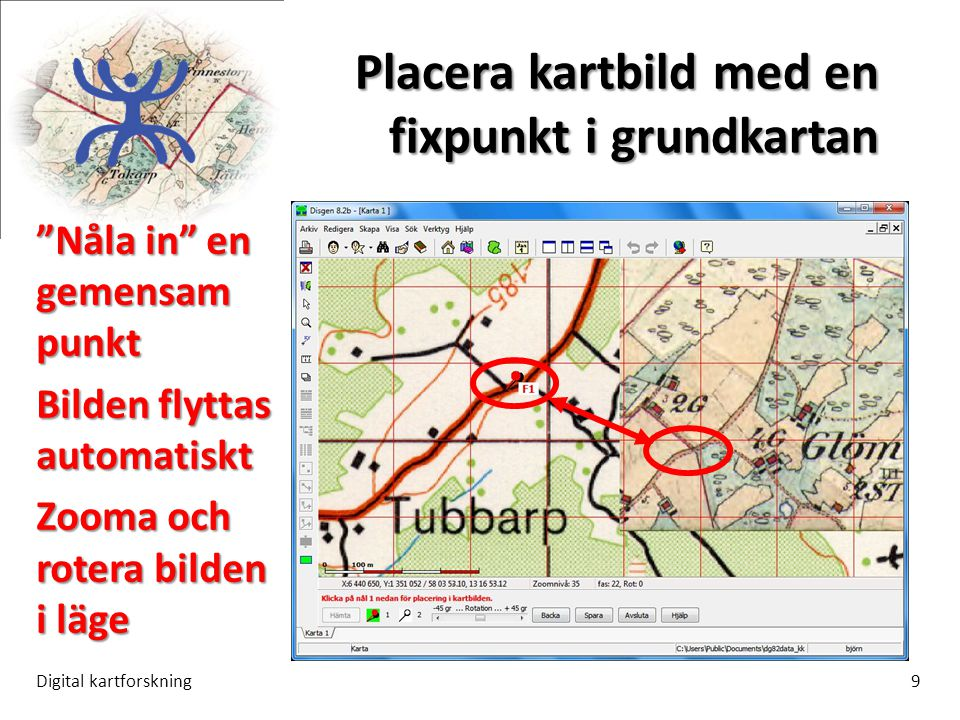 """Placera kartbild med en fixpunkt i grundkartan Digital kartforskning9 """"Nåla in"""" en gemensam punkt Bilden flyttas automatiskt Zooma och rotera bilden i"""